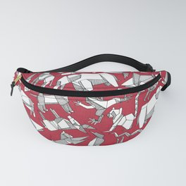origami animal ditsy red Fanny Pack