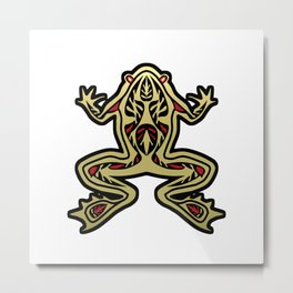 Black and Gold Frog Tribal Digital Art Metal Print