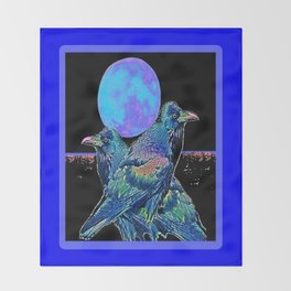 Raven's Blue Moon Art Abstract Throw Blanket