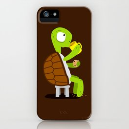 Turtle drinking tea with cookies. iPhone Case