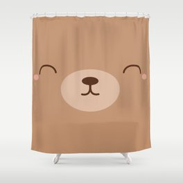 Kawaii Cute Brown Bear Shower Curtain