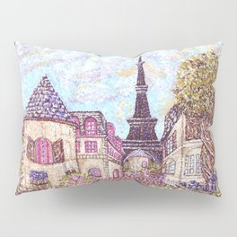 Paris Eiffel Tower inspired landscape pointillism art by Kristie Hubler Pillow Sham