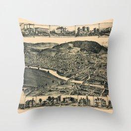 Map Of Corning 1882 Throw Pillow