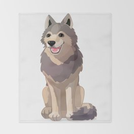 Happy gray wolf. Vector graphic character Throw Blanket