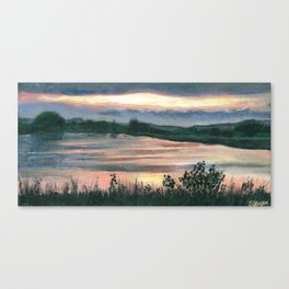 Summer Sunset at Baker Wetlands Painting Canvas Print