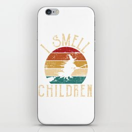 "Witchy Retro Vintage Flying ""I Smell Children"" T-shirt Design Spooky Creepy Halloween Scary Ghost iPhone Skin"