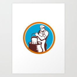 Cheesemaker Pouring Bucket Curd Circle Woodcut Art Print