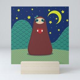 Zaza takes a night stroll Mini Art Print