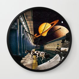 New York Metro - Sheep - Brooklyn Street Surreal Collage Artwork Wall Clock