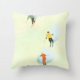Skiing at High Speeds Throw Pillow