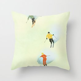 Skiing at High Speeds Throw Pillow