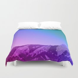 Boulder Colorado Flatirons Decor \\ Chautauqua Park Purple Pink Blue Green Nature Bohemian Style Art Duvet Cover