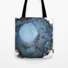 Black and Blue Vortex Ink Painting Tote Bag