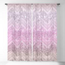 Unicorn Glitter Chevron #2 #shiny #decor #art #society6 Sheer Curtain