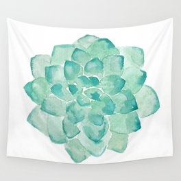 Watercolor Succulent print in seafoam green Wall Tapestry