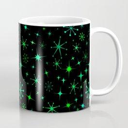 Atomic Starry Night in Neon Green Glow + Black Coffee Mug