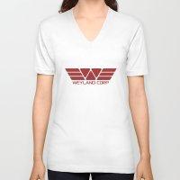 prometheus V-neck T-shirts featuring PROMETHEUS - Weyland Corp (2093 logo) by La Cantina
