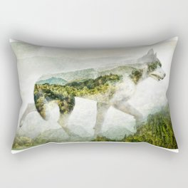 Wolf Mountain Looking Right Rectangular Pillow