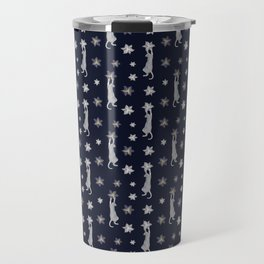 Cats Climbing Flowers Navy Blue Travel Mug