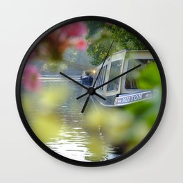 The Flowering look at a boat on the Little Venice canals in London | Color Photography | Travel Photography | Photo Print | Art Print Wall Clock