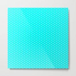 Small White Heart pattern On Aqua Blue Background Metal Print