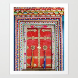 Colorful Handpainted Tibetan Buddhist Monastery Door Art Print