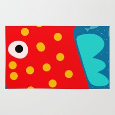 Red Fish illustration for kids Rug