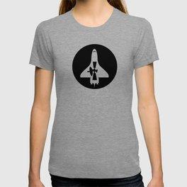 shuttle - satellite - black T-shirt