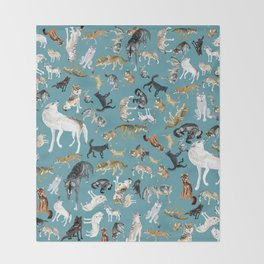 Wolves of the World pattern 2 Throw Blanket