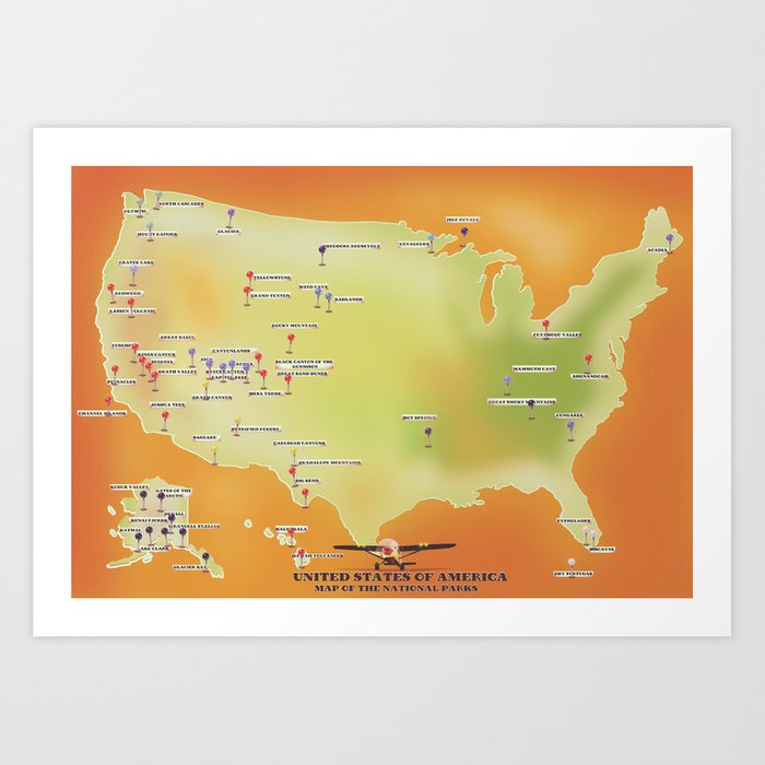 united states of american national parks map Art Print by nicholasgreen