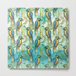 Watercolor blue yellow tropical parrot bird floral Metal Print