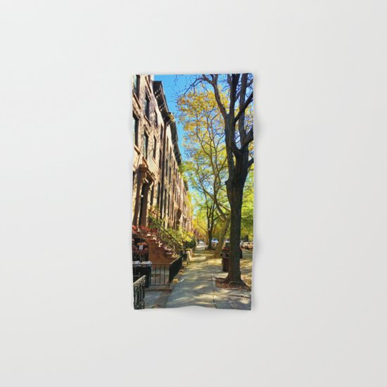 Cobble Hill Brooklyn New York in the Fall, Brownstones Hand & Bath Towel