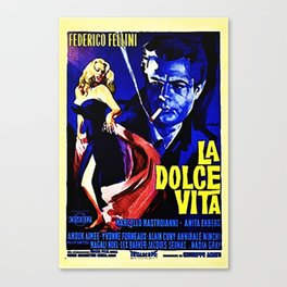 Vintage 1960 Fellini Lithograph Movie Poster Wall Art Canvas Print