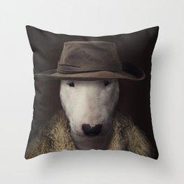 Bullterrier in the hat Throw Pillow