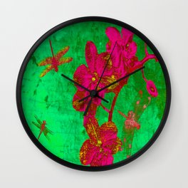 Dragonflies and Flowers Wall Clock