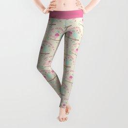 Pink teal gren love birds my valentine romantic floral Leggings