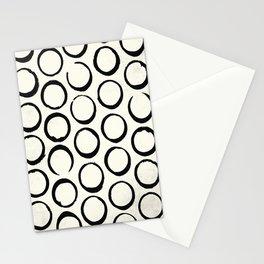 Polka Dots Circles Tribal Black and White Stationery Cards