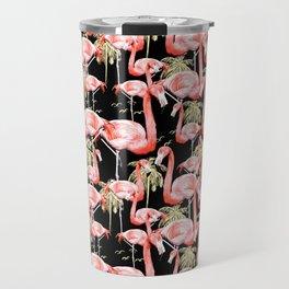Pattern of flamingos among golden palm trees I Travel Mug