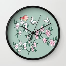 Cherry blossoms, butterflies and birds Wall Clock