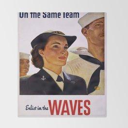 Vintage poster - Enlist in the Waves Throw Blanket