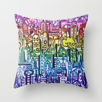 hong kong Throw Pillows featuring Hong kong by 2tehmax
