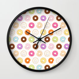 Happy Cute Donuts Pattern Wall Clock