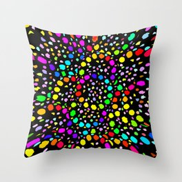 Black Psicodelia Throw Pillow