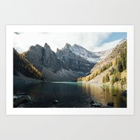 agnes cecile Art Prints featuring Lake Agnes by All The Way Photography