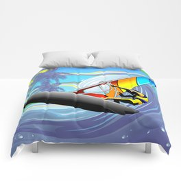 Windsurfer on Ocean Waves Comforters