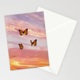 Butterfly Sunset Aesthetic Stationery Cards