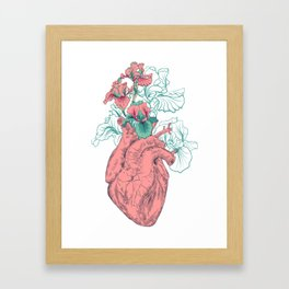 drawing Human heart with flowers Framed Art Print