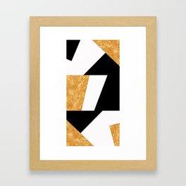 Corners in Black White Gold Framed Art Print