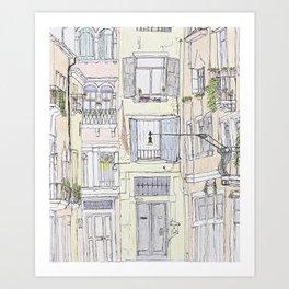 Pen + Ink Italy Street Scene Art Print