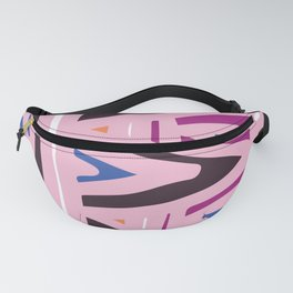 Pink, Cranberry And Blue Mid-Century Modern Abstract Pattern Fanny Pack